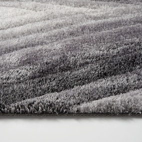Carved Ombre Grey Rug Dunelm