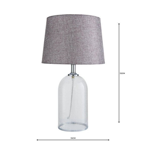 Lenny Glass Clear Table Lamp | Dunelm