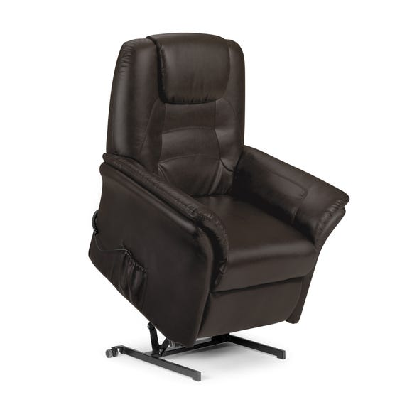 Riva Riser Recliner Leather Armchair - Brown | Dunelm