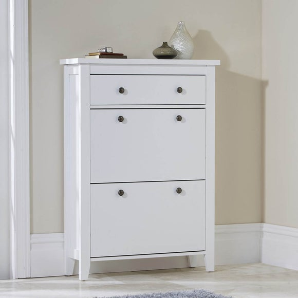 White Tiered Shoe Cabinet   Dunelm