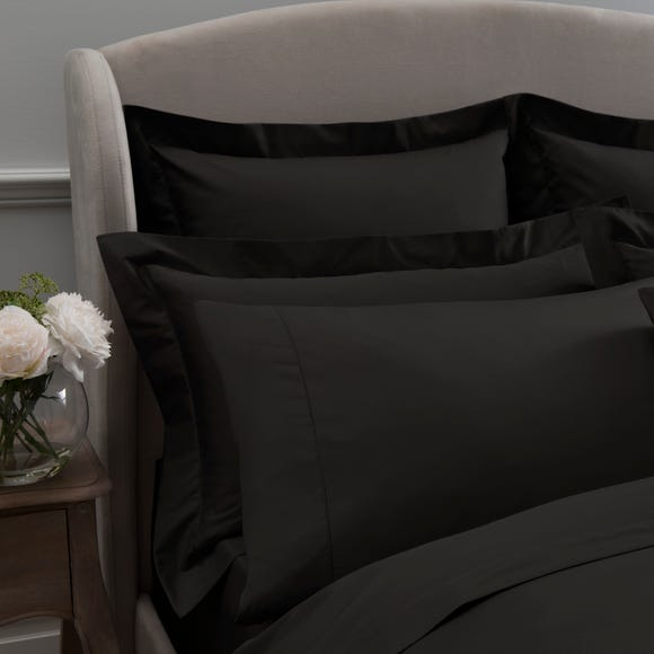 Dorma 300 Thread Count 100 Cotton Sateen Plain Black Cuffed Pillowcase Dunelm