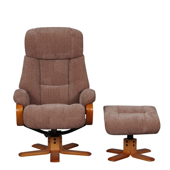 Nice Fabric Swivel Recliner Chair And Footstool