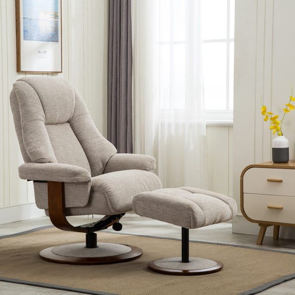 Jersey Fabric Swivel Recliner Chair And Footstool