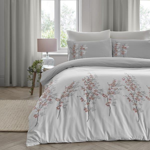 Oriental Flower Grey Blush Duvet Cover, Blush Pink And Grey Bedding Dunelm