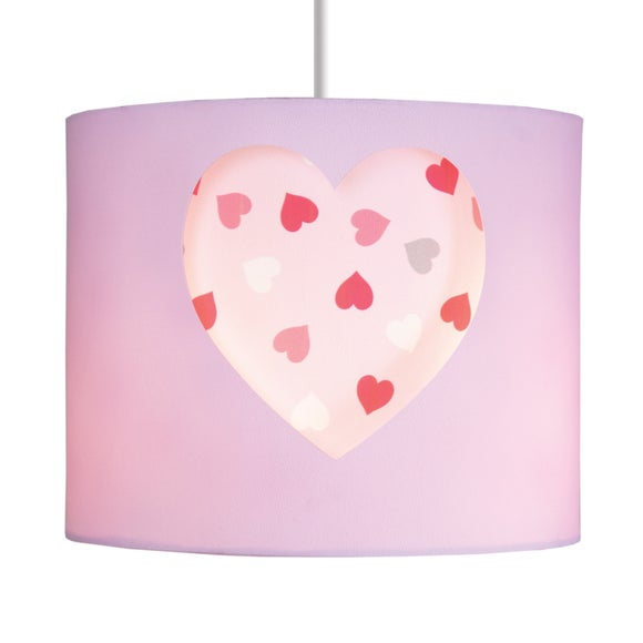 Loveable Hearts Pink Cut Out Drum Light Shade