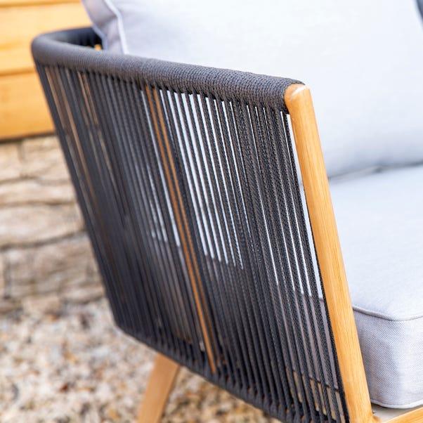 Elements 5 Seater Grey Rope Corner Sofa Set Grey