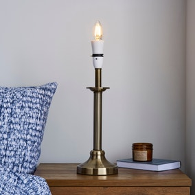 Fluted Candlestick Antique Brass Table Lamp Base