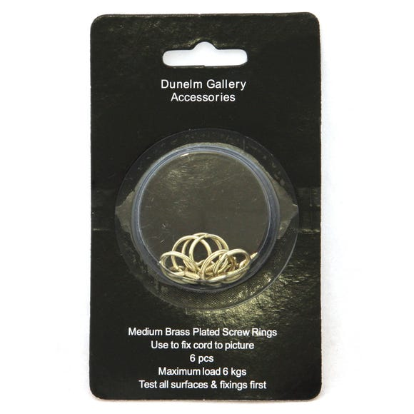 Pack of 6 Medium Brass Plated Screw Rings Gold
