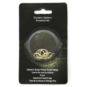 Pack of 6 Medium Brass Plated Screw Rings