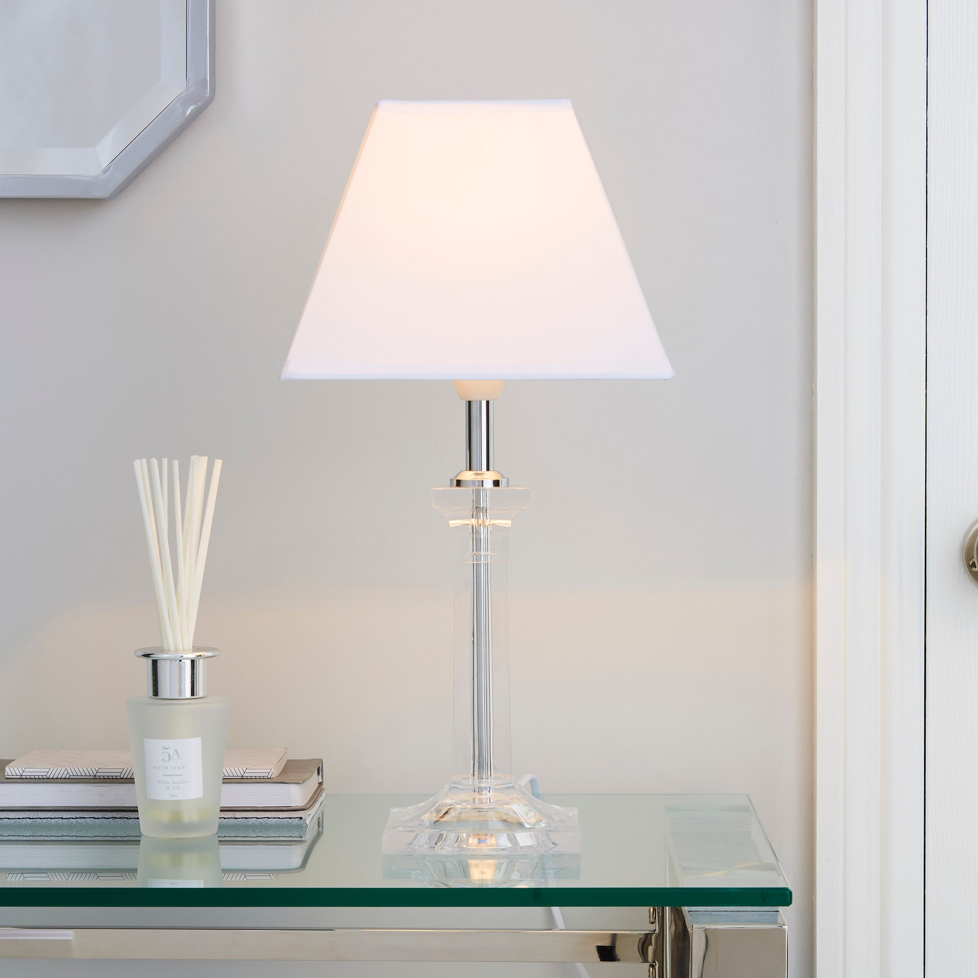 Square Clear Table Lamp White