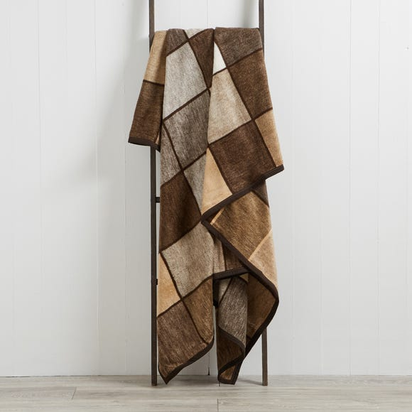 Thermosoft Checked 220cm x 240cm Blanket Thermosoft Check Chocolate