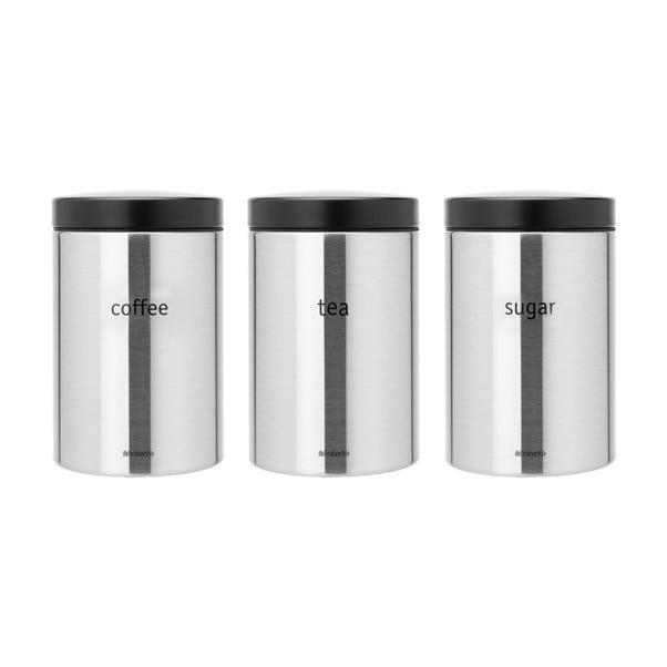 Brabantia Coffee Tea and Sugar Storage Jar Set Matt Steel (Silver)
