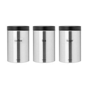 Brabantia Coffee Tea and Sugar Storage Jar Set