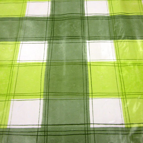 Green Wavy Check PVC Green
