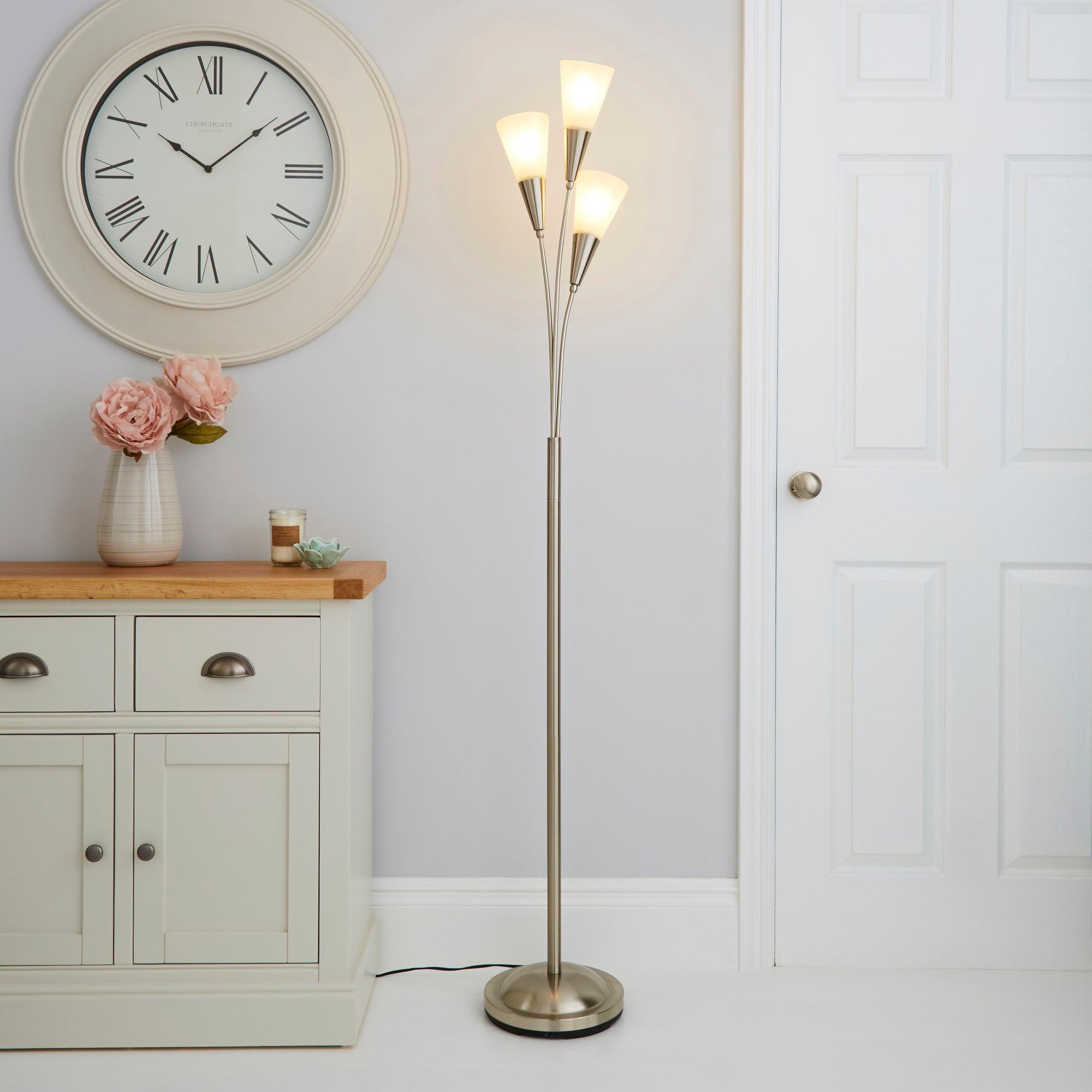 Marble Glass Satin Nickel Floor Lamp Silver