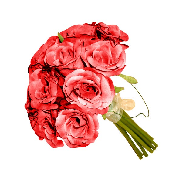 Artificial Rose Bouquet Cream 21cm Red