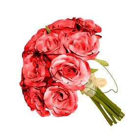Artificial Rose Bouquet Cream 21cm