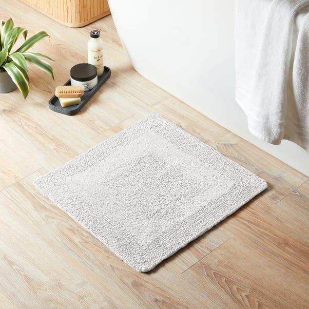 Super Soft Reversible White Square Bath Mat White
