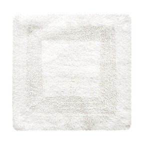 Super Soft Reversible White Square Bath Mat