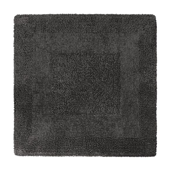 Super Soft Reversible Charcoal Square Bath Mat Charcoal (Grey)