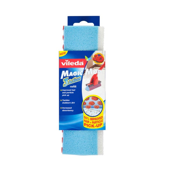 Vileda 3 Action Magic Mop Head Refill Multi Coloured