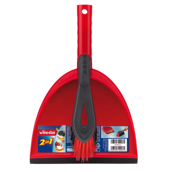 Vileda 2in1 Dustpan & Brush Set Red