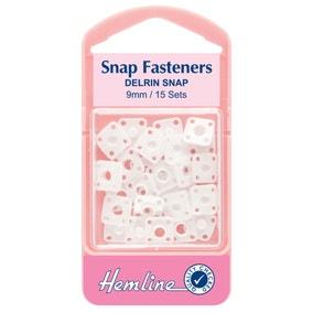 Hemline Delrin Snap Fasteners White 9mm