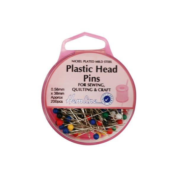 Hemline Eco Plastic Head Pins MultiColoured