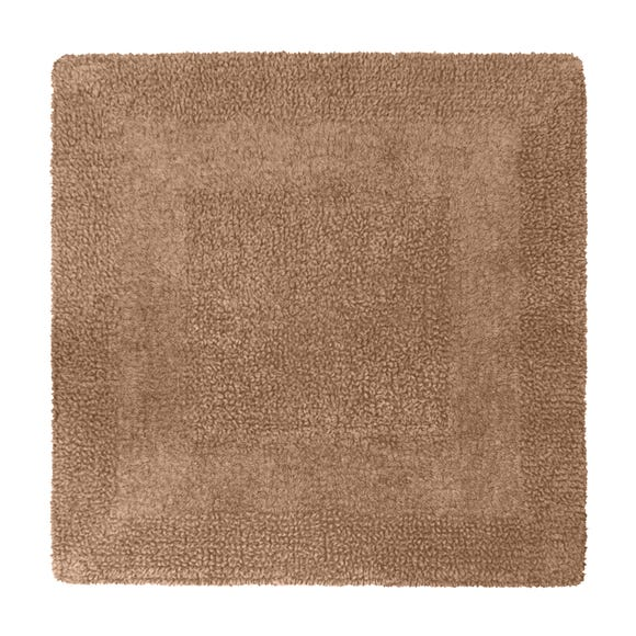 Super Soft Reversible Walnut Square Bath Mat Walnut (Brown)