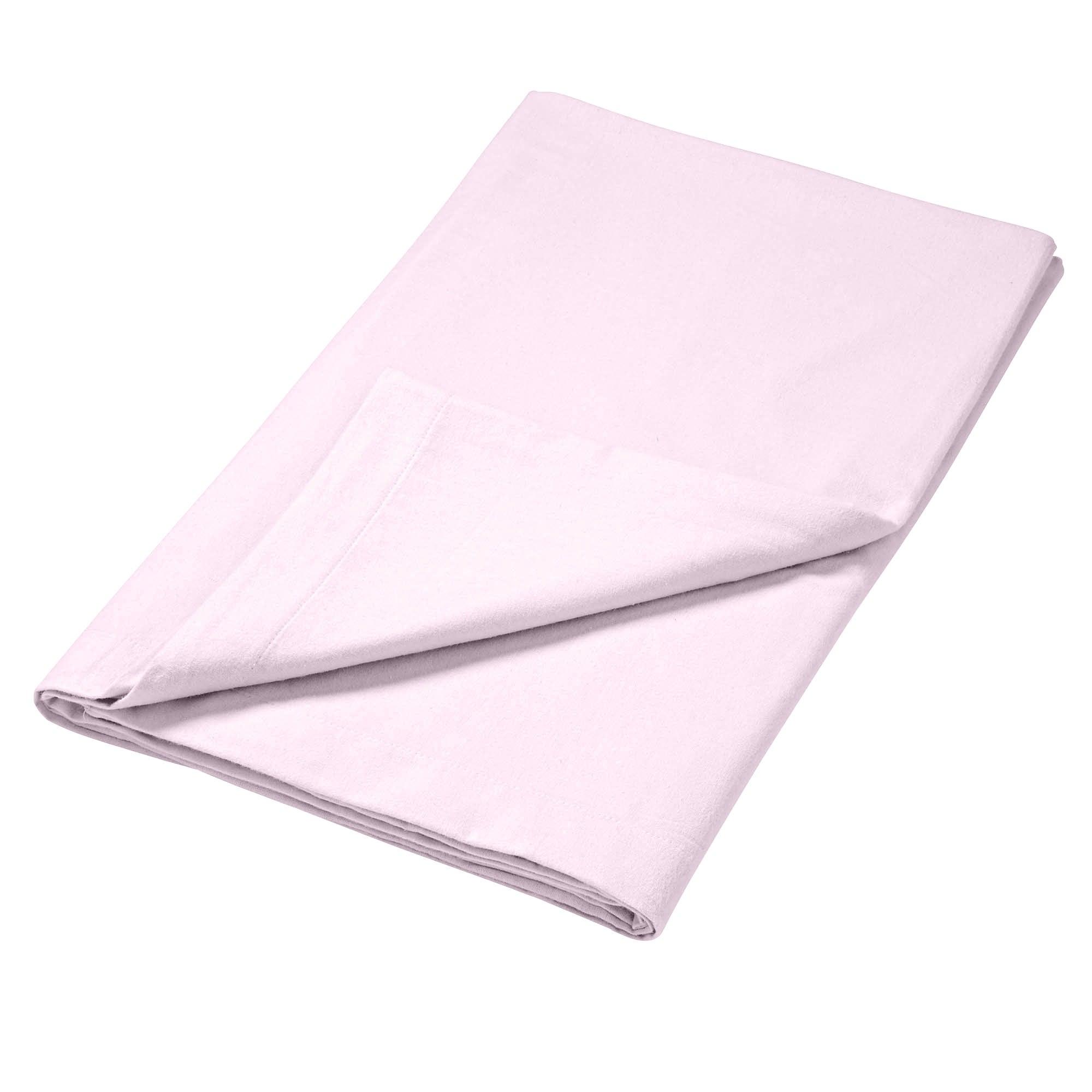 Photo of Luxury brushed cotton flat sheet pink