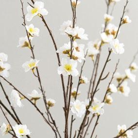 Artificial Blossom Flower Cream Single Spray 120cm