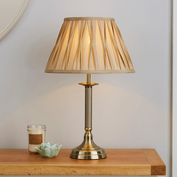 Reeded Antique Brass Table Lamp Gold
