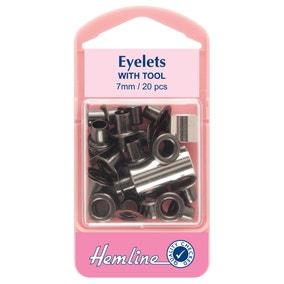 Hemline Black Eyelets 7mm