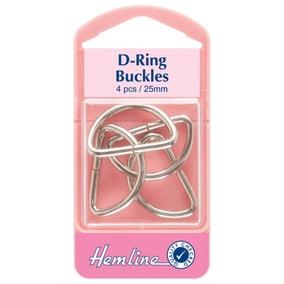 Hemline Metal D-Rings Nickel Silver 25mm