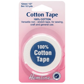 Hemline White Cotton Tape 5m