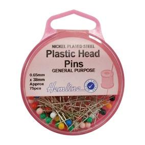 Hemline Plastic Head 38mm Pins