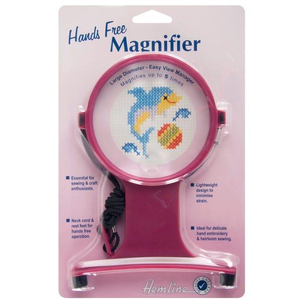 Hemline Hands-Free Magnifier Pink