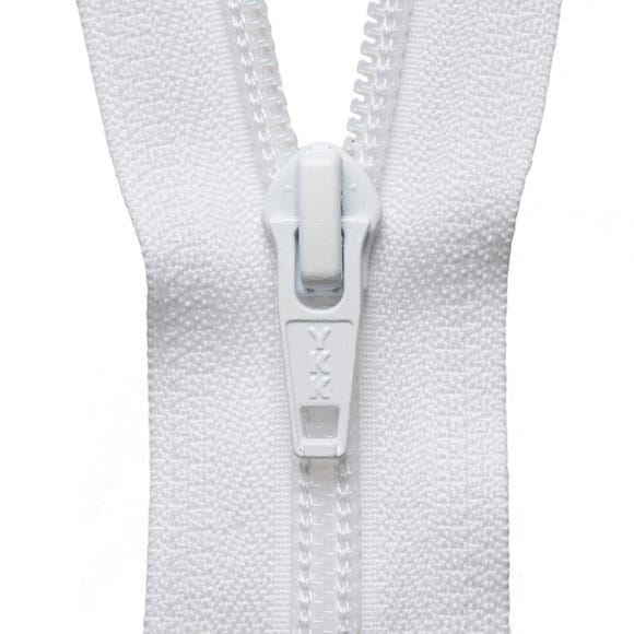 White Open End Zip  undefined