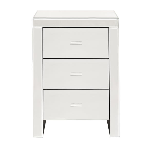 Venetian Mirrored 3 Drawer Bedside Table Clear