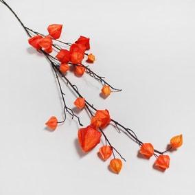 Artificial Lantern Flower Orange Single Spray 112cm