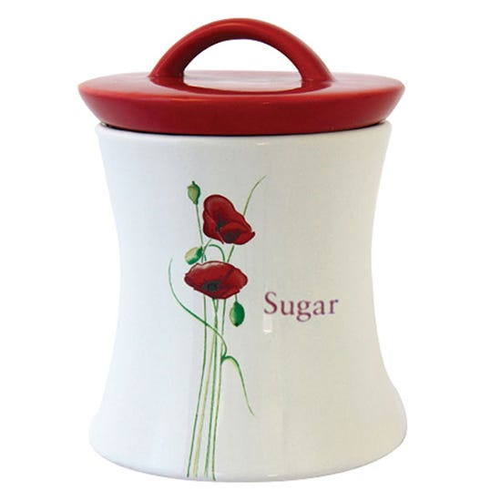 Poppy Sugar Jar White