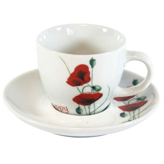 Poppy Cup and Saucer White