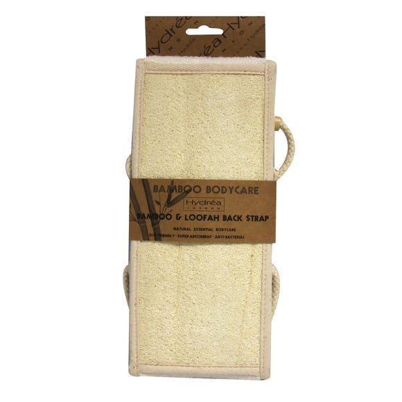 Hydrea Bamboo and Loofah Back Strap Natural (Cream)