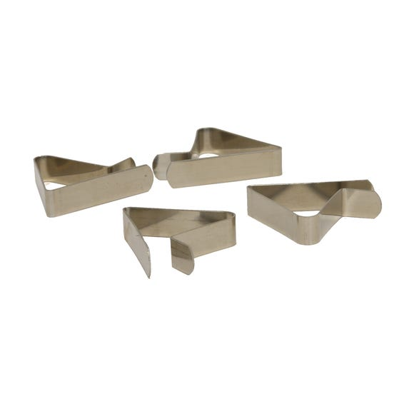 Pack of 4 Silver Tablecloth Clips Silver