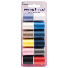 Hemline Pack of 12 Assorted Polyester Thread