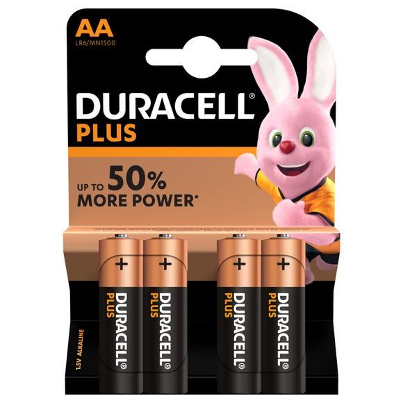 Duracell Pack of 4 Plus AA Batteries Multi Coloured undefined