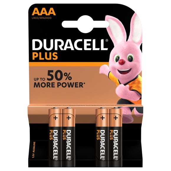 Duracell Plus AAA Pack of 4 Batteries Multi Coloured undefined