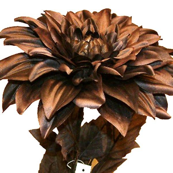 Artificial Dahlia White Single Stem 90cm Black