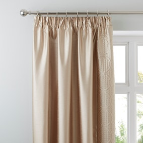 Circles Latte Thermal Pencil Pleat Curtains
