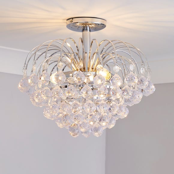 Glass Droplet Semi-Flush Ceiling Fitting Silver